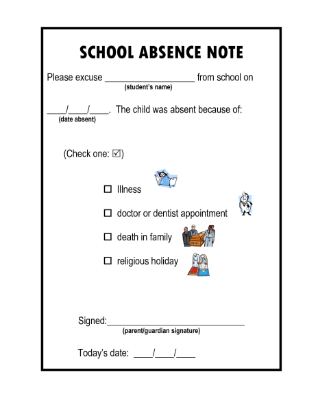 The school excuse the pediablog for School absence note template free